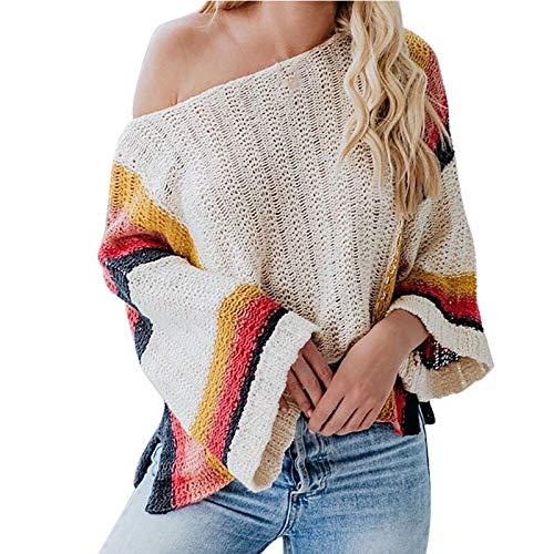 derenzide Off Shoulder Sweater Women's Knit Jumper Long Sleeve Pullover Baggy Sweater Loose Oversized Pullover Knit Jumper Beige