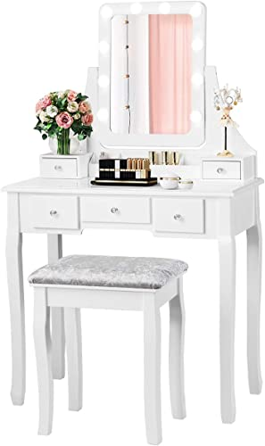new arrival CHARMAID LED Vanity Set with 10 lowest Dimming Light Bulbs, 3-Slot Removable Organizer, 5 Drawers, 2 Dividers, Dressing Makeup Table with Lighted Mirror and Cushioned Stool for Bedroom sale Bathroom (White) online sale