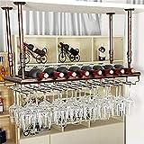 ZHANMAGS Estantes de Vino montados Barra de vinos Barra de Pared, Barra Colgante Rack de Vidrio y Soporte de Botella Colgante Ajustable Alto (Color : Bronze, Size : 80X30X30Cm)