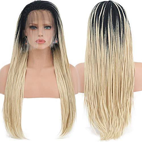 CHUTD Pruik, 613 Mirco Gevlochten Kant Pruiken Blond Haar met ZWART Wortels voor Vrouwen Synthetische Hittebestendige Lange Vlechten Pruik.