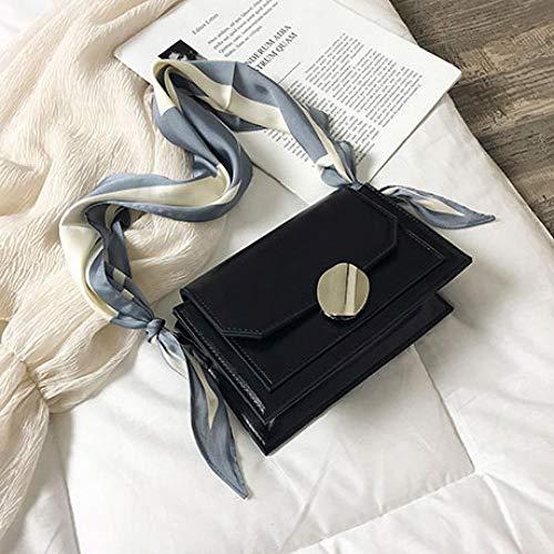 Bolso De Mujer Bolso Mensajero De Cuero De Color Contrastante Elegante Bolso De Mano De Cinta De Mujer Bolso Cuadrado De Almeja Bolso De Hombro De Cadena Negro