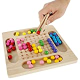 Rainbow Ball Elimination Game,Wooden go Games Set,Colorful Fun Puzzle Chess Board Game,Für Kinder Logikspiel Magisches Denkspiel Brettspiel für Kinder Erwachsene