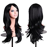 AneShe Wigs 28' Long Wavy Hair Heat Resistant Cosplay Wig for Women (Black)