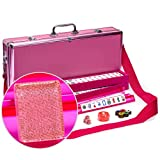 Yellow Mountain Imports American Mahjong Set, Pink Sparkles with Pink Aluminum Case