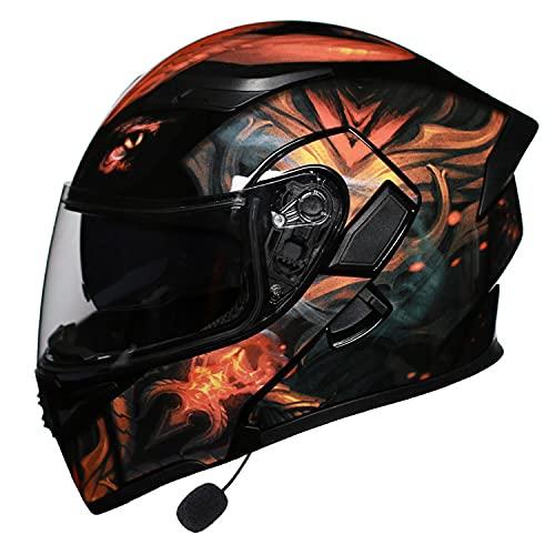 Casco de Motocicleta con Bluetooth Integrado.Casco de Moto Modular HD Lente Auriculares y Micrófono Integrados Casco de Carreras de Cara Completa Diseño(Size:L = 58~59cm)