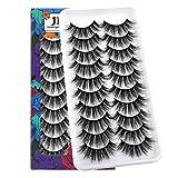 JIMIRE 10 Pairs False Eyelashes Natural Lashes Fluffy 3D Volume Eyelashes Pack