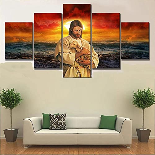 FASDFE Wall Art Decor Poster Painting on Canvas Print Pictures 5 Pieces Canvas Paintings Wall Art Religious Jesus Poster 5 Piece for Living Room Dining Room Home Decor Decoration Gift