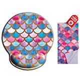 Mermaid Scale Pink Ergonomic Design Girly Cute Mouse Pad with Wrist Rest Hand Support. Round Large Mousing Area. Matching Microfiber Cleaning Cloth for Glasses & Screens. Great for Gaming & Work