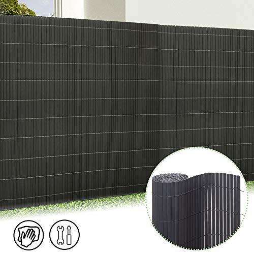 Froadp 120x500cm PVC Sichtschutzmatte Windschutz Imitat Bambus Sichtschutzzaun Verkleidung für Außenbereich Garten Balkon Terrasse(Anthrazit)