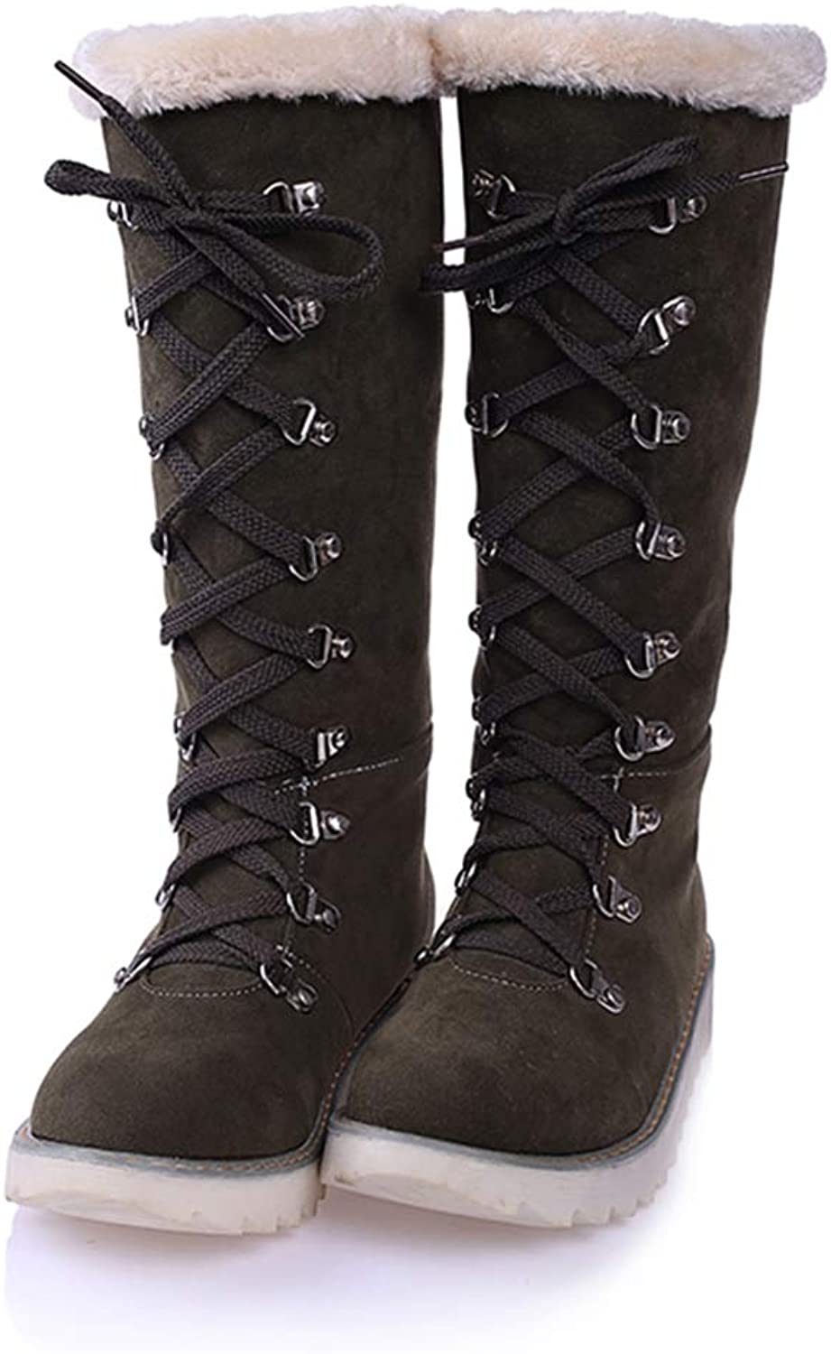 Hoxekle Woman Snow Boots Lace Up Slip On Round Toe Casual Comfortable Warm Plush Anti-Slip Winter Knee High Boots