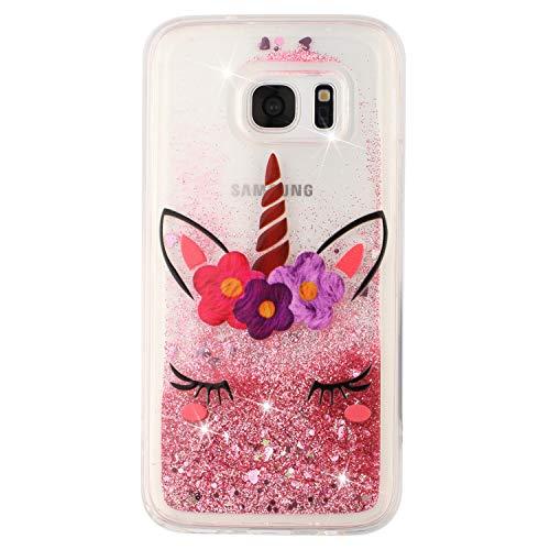 BIZHIKE Cover per Samsung Galaxy S7, Glitter Bling Liquido Custodia Sparkly Luccichio Pendenza TPU Silicone Protettivo Morbido Brillantini Quicksand Case -Unicorno