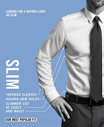Tommy Hilfiger Men's Non Iron Slim Fit Stripe Spread Collar Dress Shirt, Mist, 14.5' Neck 32'-33' Sleeve