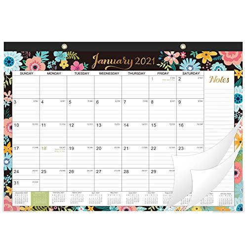 2021-2022 Desk Calendar - 18 Monthly DeskWall Calendar 2-in-1 168 x 12 January 2021 - June 2022 with Corner Protectors Ruled Blocks - Black Floral
