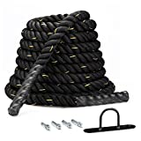 Battle Rope 1.5in Heavy Battle Exercise Training Rope 30ft Length Workout Rope 100% Dacron Fitness Rope for Home Gym Muscle Toning Metabolic Workout Fitness Strength Training, Anchor Included
