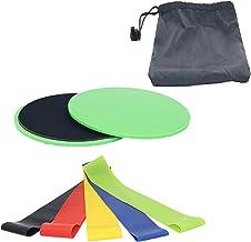 Lumanby 1 paar Fitness Schuifplaat Coördinatie Ability Fitness Schuifpad Schuifplaat met 5 Weerstandsbanden voor Home Gym,...