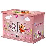 SONGMICS Musikspieldose, Spieluhr, Schmuckkästchen mit Schubladen und Spiegel, Aufbewahrung, Geschenk für Mädchen, Rosa JMC004PK