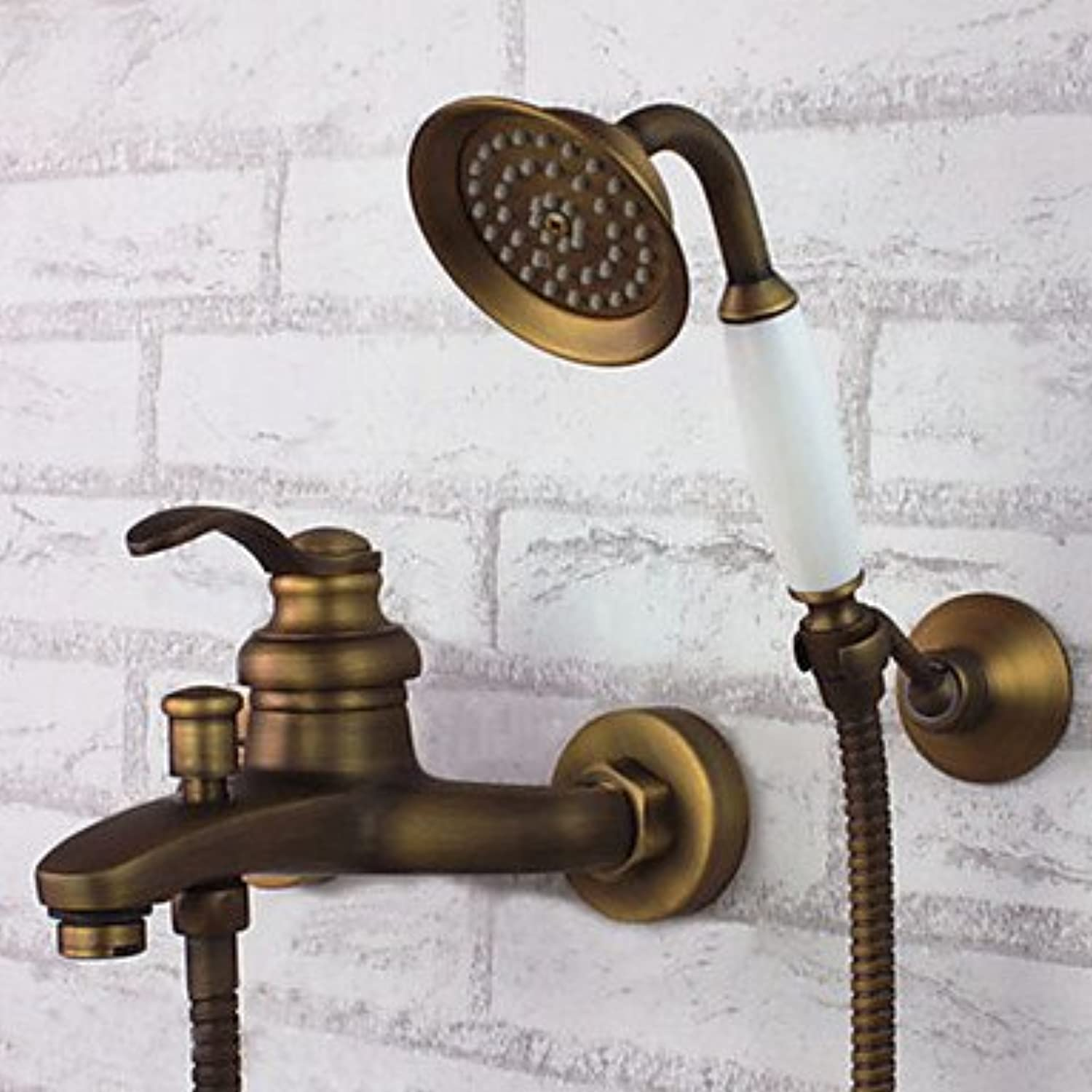 SYX Shower Faucet Antique Brass Wall Mount Handheld