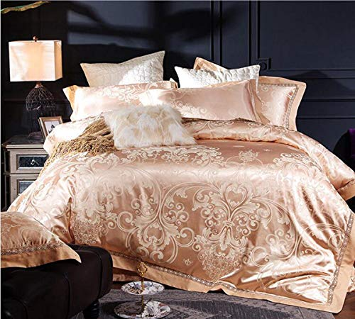 Read About HUROohj Satin Jacquard,The New Bedding Four Sets,European Style£¬Bedding Kits£¨ 4 Pcs£for Bed Size Twin/Queen/King,£­King