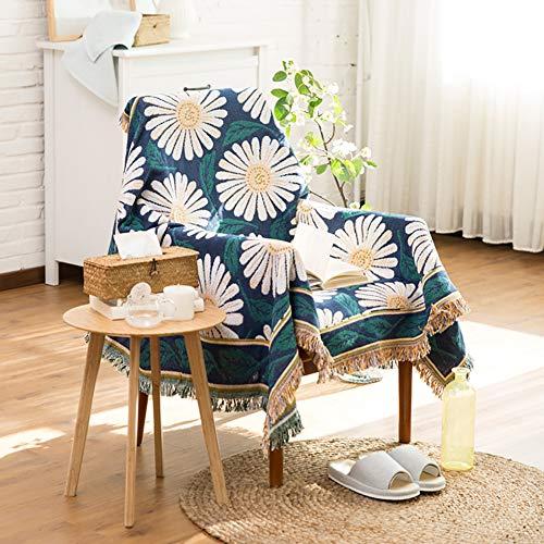 luofanfei Sofa Überwurf Bettüberwurf Couchbezug Tagesdecke Blumenmuster Blau Beige Grün 230 x 250 cm Sofaüberwurf Bett Decke Baumwolle mit Kurzen Fransen Wohndecke Couchdecke Bedspread