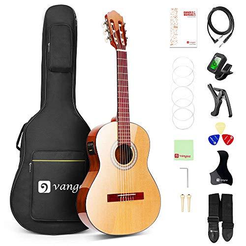 Vangoa 3/4 Guitarra Clásica 36 Pulgadas Electroacústica Española Guitarra con Sintonizador incorporado, Ecualizador de 2 Bandas y Kits para Principiantes