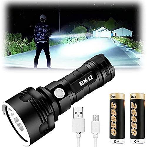 Linternas LED XLM-P70 Lúmenes altos, 30000-100000 Lumen Linterna impermeable de alta potencia, 3 modos Linterna súper brillante y Linterna recargable USB Linterna para acampar (25W XLM-L2, 2 Bateria)