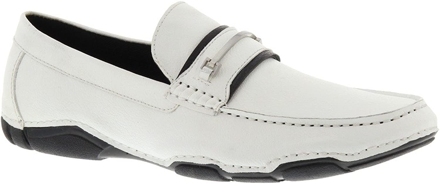 Kenneth Cole Men's Vic-Tour-y Victory SY Leather Slip on Casual Loafer in White Size 10.5