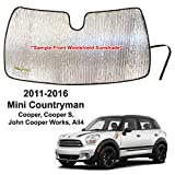YelloPro Custom Fit Front Windshield Reflective Sunshade for 2011 2012 2013 2014 2015 2016 Mini Countryman Cooper, Cooper S, John Cooper Works, All4, Sunshade Protector Accessories [Made in USA]