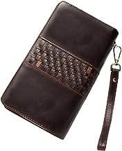 Billetera para hombre Vintage de los hombres de cuero largo billetera tejida billetera doble cremallera gran capacidad de embrague titular de la tarjeta de crédito cartera monedero bolsillo hasta 8 ta