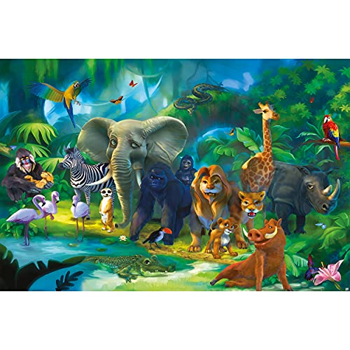 GREAT ART Fototapete Kinderzimmer – Dschungel Tiere – Wandbild Dekoration Jungle Animales Zoo Natur Safari Adventure Tiger Löwe Elefant AFFE Foto-Tapete Wandtapete (210x140 cm)