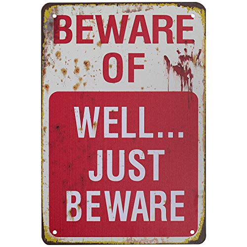 HRENCY Halloween Metal Signs, Beware of Well Just Beware Metal Sign, Retro Fashion Chic Funny Metal Tin Sign for Halloween Decorations