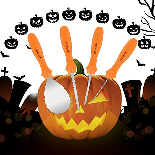 Pumpkin Carving Kit, 4 Piece Heavy Duty Stainless Steel Pumpkin Carving Tools with 10 Carving Stencils, Ergonomic Design, Perfect for Adult and Children Halloween Decoration