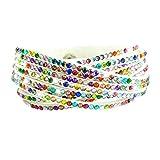 Fabulous Bijoux Bracelet Wrap Slake Strass Brillant Cristal en Cuir Daim Multicolore