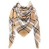 SUNDAY ROSE Women Plaid Blanket Scarf Oversized Tartan Scarves Long Shawl Wraps-Khaki Black