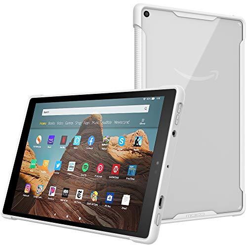 MoKo Hülle Kompatibel mit Amazon Fire HD 10 Tablet (9. Gen 2019 und 7. Gen 2017 Model), Kratzfest Transparent Hart PC Rückseite Schutzhülle Stoßabsorbierend TPU Kante für Fire HD 10 - Weiß
