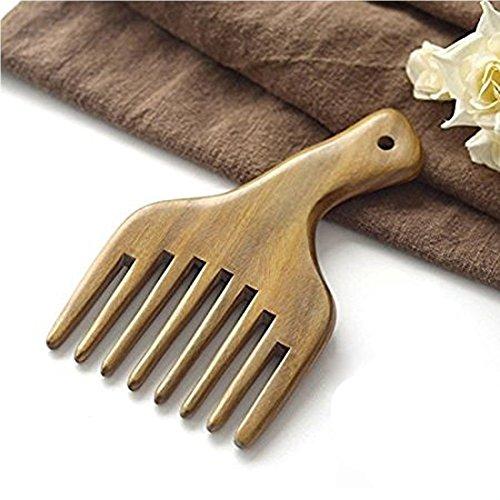Peine de madera para masaje, con dientes anchos, color verde, de sándalo, de bolsillo, peine de pelo pequeño (peine de masaje)