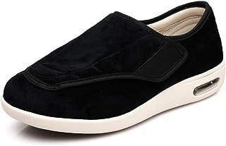 B/H Chaussons Patients diabétiques,Plus Chaussures de Marche Chaudes en Velours, Chaussures antidérapantes Velcro-Noir_41,...