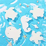 24 Pieces Oil Absorbing Scum Sponge Cute Shapes Clean Accessories Remover Floating Sponges of 4 Kinds of Marine Life, Turtle, Octopus, Seahorse, Starfish for Hot Tub, Swimming Pool and Spa