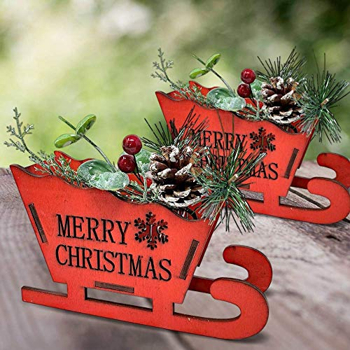 Country Christmas Sleighs - Set of 2 Decorative Wooden Sleighs with Pine Cones and Red Holiday Berries - Merry Christmas Santa's Sleigh Decoration