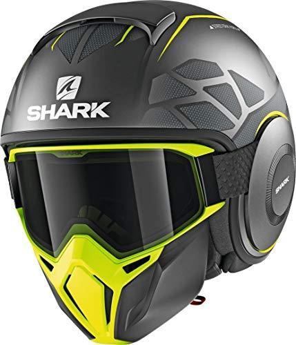 SHARK NC Casco per Moto, Hombre, Gris/Negro/Fluo, M