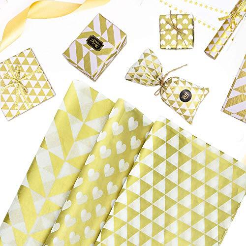 LYTIVAGEN 60 PCS Papel de Seda Papel de Regalo Papel de Envolver Copia Papel Triángulo Hoja de Papel Hecho a Mano para Caja de Regalo, Fruta, Vino, Flores (Dorado)