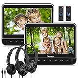 Double Ecran DVD Portable d'Appui tête NAVISKAUTO 10,1 Pouce (2 Lecteurs DVD) pour Enfant Equipé Casque Supporte HDMI Input USB SD Région Libre