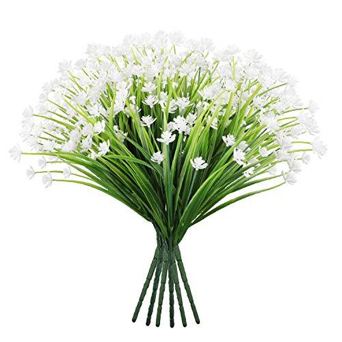Famibay Flores Artificiales Exterior Blancas Ramo de Flores Plantas de Plastico Arbustos...