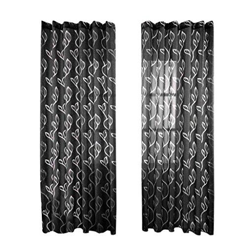 MagiDeal Persianas Cortina de Ventana Hojas de Drapeado de Gasa Separador de Ambientes Puerta - Negro, 100 * 270cm