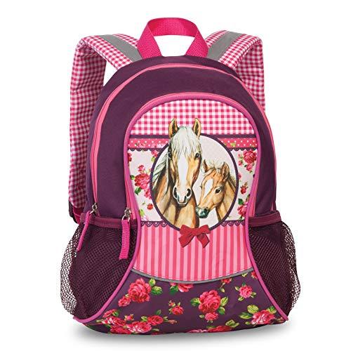 Kinder Mädchen Rucksack Kinderrucksack mit tollem Pferde Pfohlen Motiv (20619) mit Hauptfach und Nebenfach Getränkenetz, 35 x 27 x 15 cm, pink