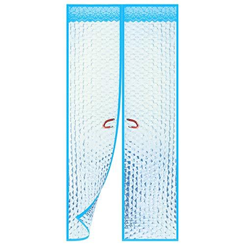 WUZMING Magnet Thermo Türvorhang, Familie Selbstansaugend Wärmeschutzvorhang Tür Schalldicht Wärmeschutz, Küchentür, Wohnzimmertür (Color : Blue, Size : 90x210cm)