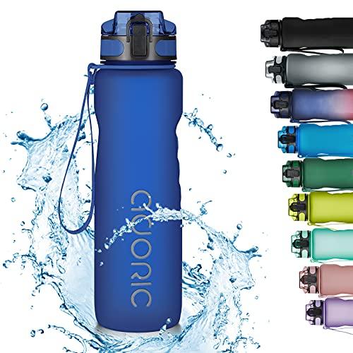 Adoric Trinkflasche 1000ml Auslaufsichere BPA-frei Outdoor Sportflasche aus Tritan Wasserflasche Kinder für Sport Fitness Fahrrad Dunkel Blau