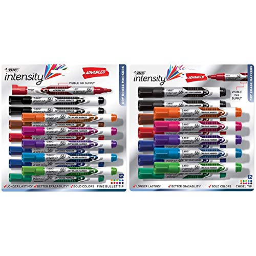 BIC Intensity Advanced Dry Erase Marker, Fine Bullet Tip, Assorted Colors, 12-Count & Magic Marker Brand Dry Erase Marker, Tank Style, Chisel Tip, Assorted Colors, 12-Count