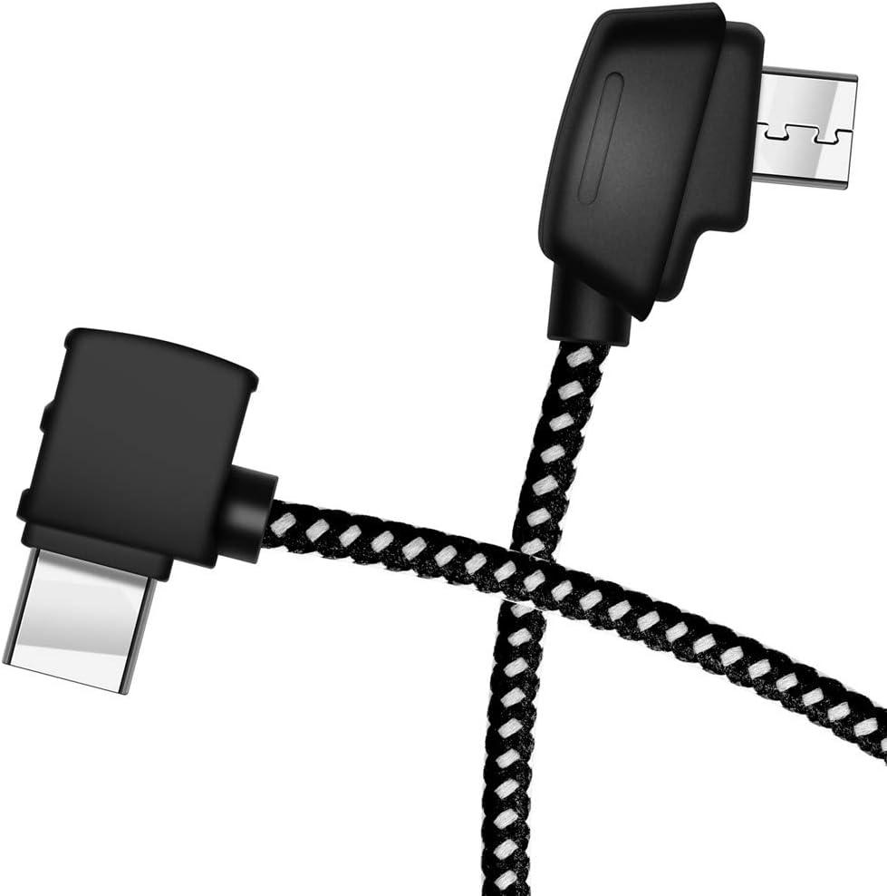 Hanatora Micro-AB to USB C 8.14 Inch Remote Controller Cable for DJI Mavic Mini/Mavic 2 Pro/Mavic 2 Zoom/Mavic Air/Mavic Pro Platinum,OTG Nylon Braided Type c Tablet Data Cord (Type-C Connector)