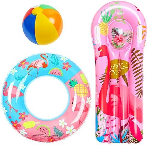 R HORSE 3 Pack Flamingo Pool Floats Inflatable Flamingo Float Raft Lounge Swim Tube Ring Beach product image