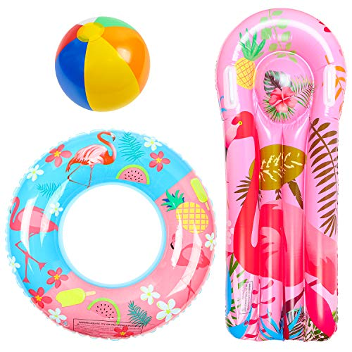 R HORSE 3 Pack Flamingo Pool Floats, Inflatable Flamingo Float Raft Lounge, Swim Tube Ring, Beach Ball Pool Toys for Summer Beach Party, Swimming Pool Party, Flamingo Party